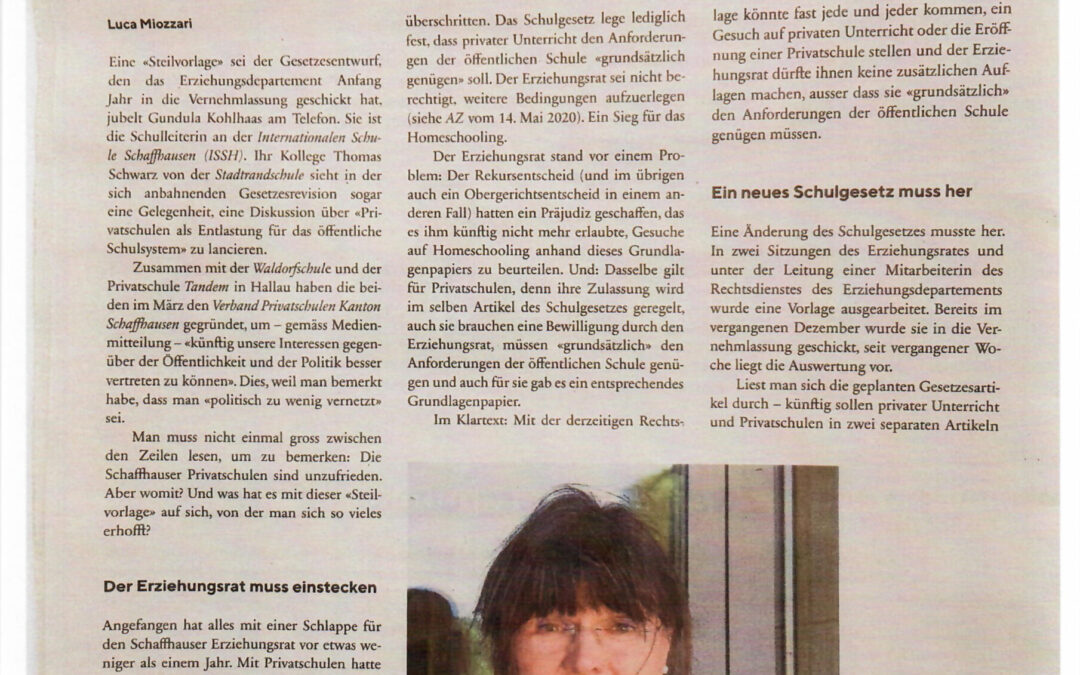 Artikel in der AZ vom 15.April 2021
